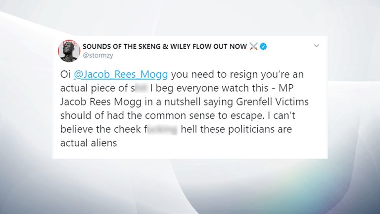 Stormzy has called for Mr Rees-Mogg to resign. Pic: @stormzy