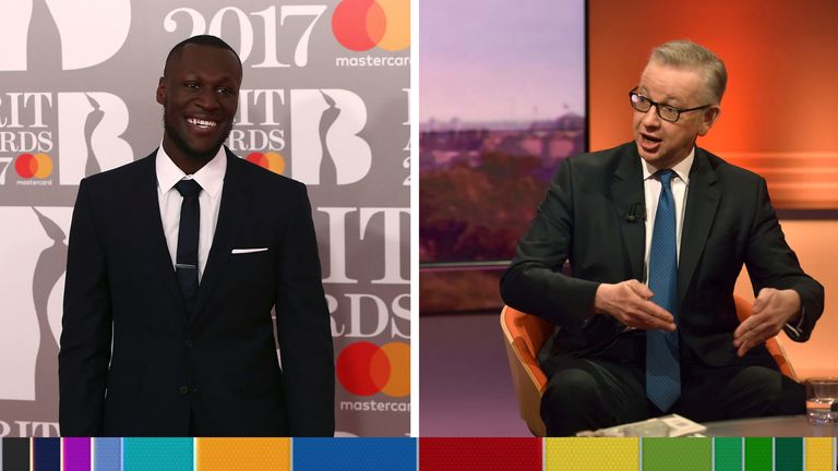 Michael Gove has dismissed criticism of Boris Johnson by Stormzy