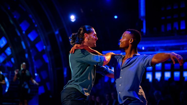 Johannes Radebe and Graziano Di Prima (left) dancing as Emeli Sande sings Shine on Strictly Come Dancing: The Results. Strictly Come Dancing viewers said they were moved to tears as the show made history with its first individual same-sex dance