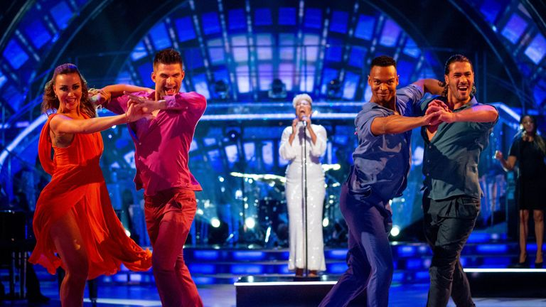 Luba Mushtuk and Aljaz Skorjanec with Johannes Radebe and Graziano Di Prima dancing as Emeli Sande sings Shine on Strictly Come Dancing: The Results. Strictly Come Dancing viewers said they were moved to tears as the show made history with its first individual same-sex dance