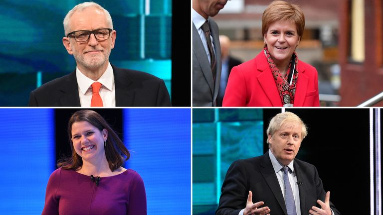 Jeremy Corbyn, Nicola Sturgeon, Jo Swinson and Boris Johnson. Leaders of the Labour Party, SNP, Liberals Democrats Conservatives.