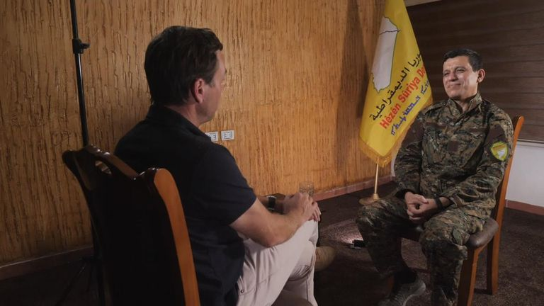 General Mazloum Kobani spoke to Sky News' Mark Stone at a secret location in Syria