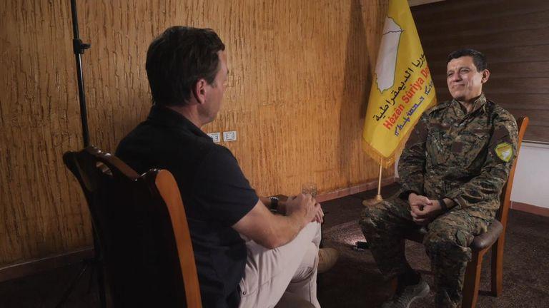 General Mazloum Kobane spoke to Sky News' Mark Stone at a secret location in Syria
