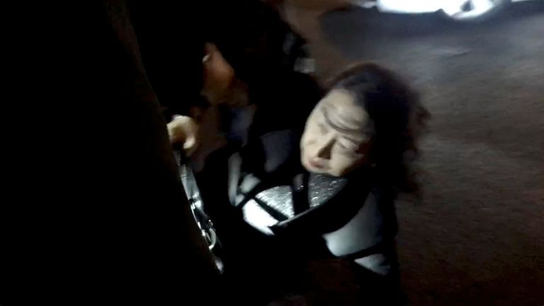 Video footage of the incident shows the minister falling to the ground