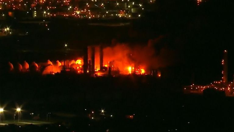 Officials say they have no estimate for how long the fire will burn after two explosions 13 hours apart tore through a Texas chemical plant