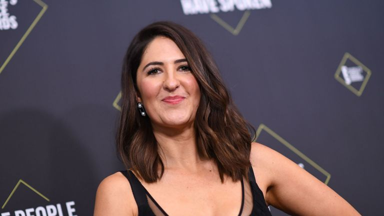 US actress D'Arcy Carden poses in the press room during the 45th annual E! People's Choice Awards at Barker Hangar in Santa Monica, California, on November 10, 2019