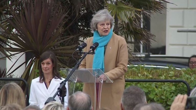 Theresa May said she was honoured to be unveiling the statue of Nancy Astor