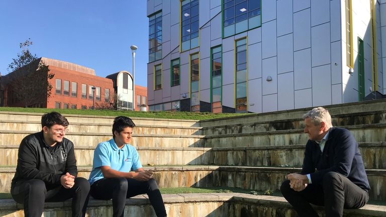 Mark Austin speaks with students in Thurrock