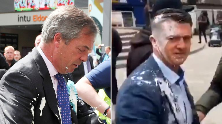 Nigel Farage and Stephen Yaxley-Lennon were both doused in milkshake