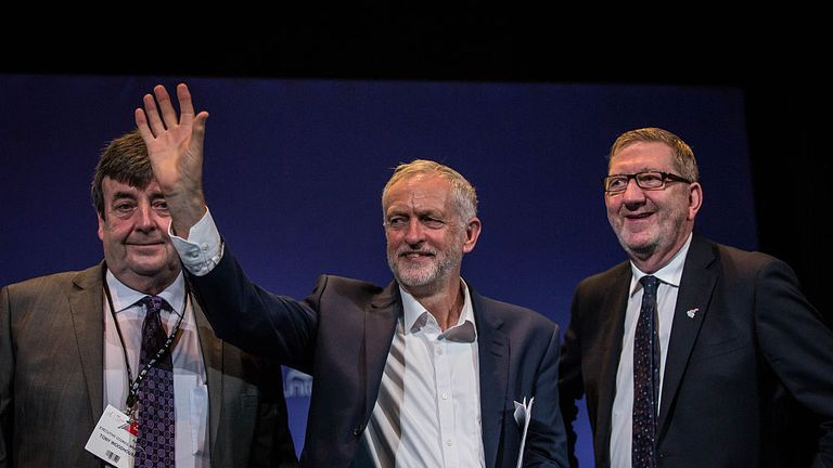 Unite 's Tony Woodhouse (left) with Jeremy Corbyn and Len McCluskey at Labour's conference in 2016