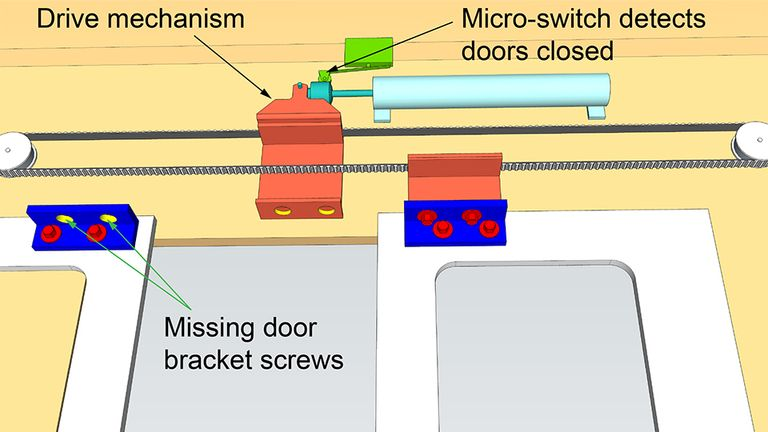 An image shows how one of the doors had two screws missing. Pic: RAIB