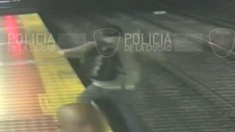 Man falls onto railway track in Argentina while using phone