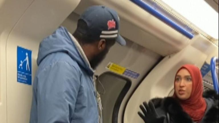 The man was confronted by a Muslim woman. Pic: Chris Atkins