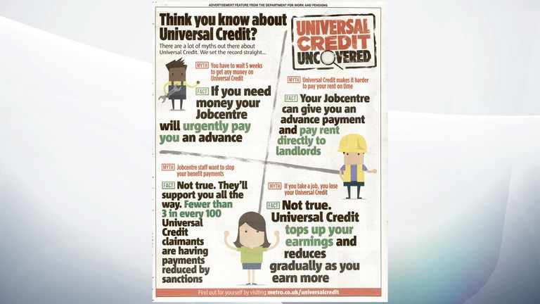EMBARGOED TO 0001 WEDNESDAY NOVEMBER 06 Undated handout photo issued by the Advertising Standards Authority of a Department for Work and Pensions (DWP) ad aiming to dispel ???myths??? about Universal Credit, as the series of ads have been banned by a regulator for misleading the public. PA Photo. Issue date: Wednesday November 6, 2019. The six ads for the DWP appeared in the Metro and on the Mail Online and Metro Online websites from May to ???set the record straight??? about the benefit. See PA