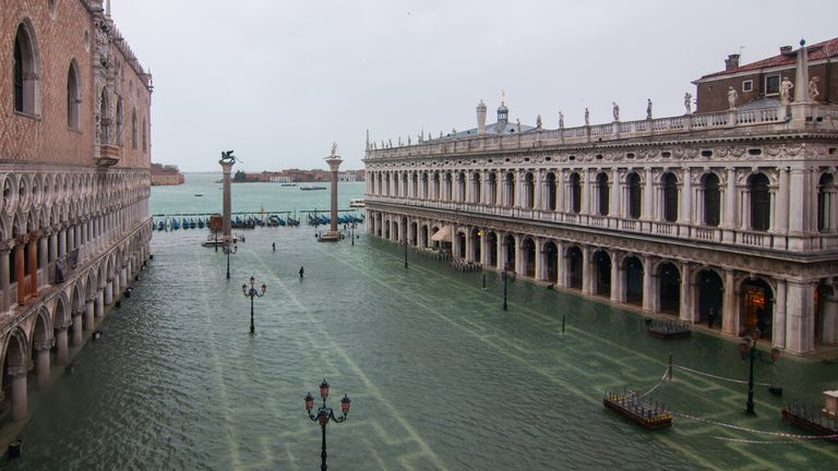 A flooded St Mark's square (Piazza San Marco) during a new exceptional high tide