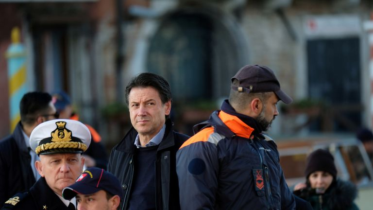 Italian Prime Minister Giuseppe Conte in Venice