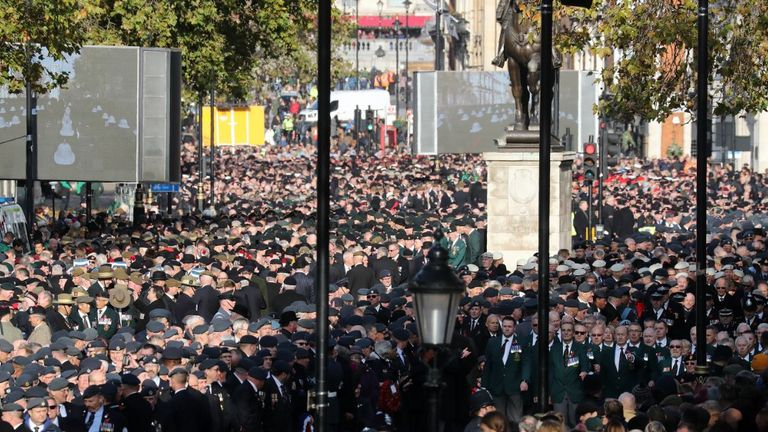Veterans line Whitehall on Remembrance Sunday