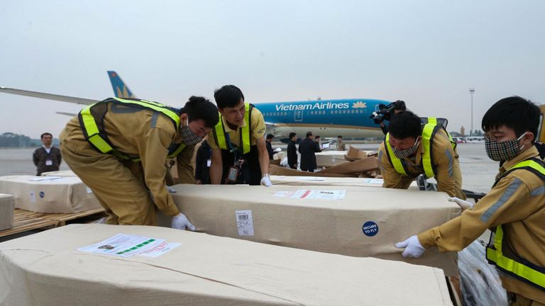 Caskets with the bodies of the victims of the Essex lorry death arrived in Hanoi on Tuesday on a flight from the UK