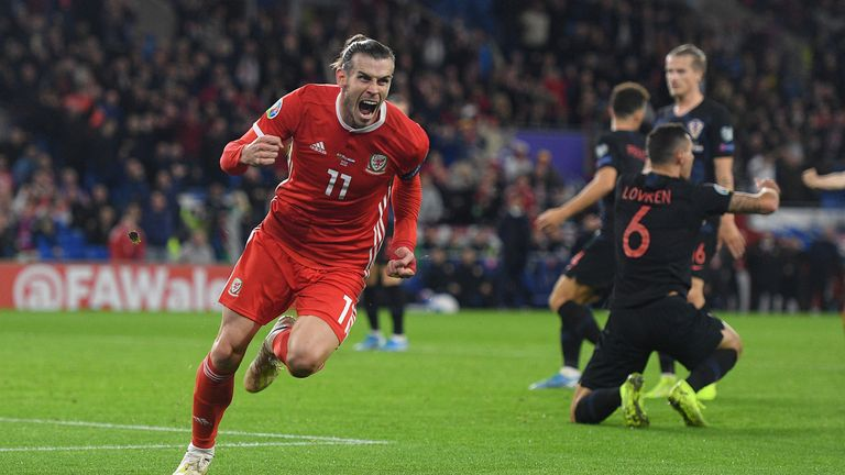 CARDIFF, WALES - OCTOBER 13: Gareth Bale of Wales celebrates scoring his team's first goal during the UEFA Euro 2020 qualifier between Wales and Croatia at Cardiff City Stadium on October 13, 2019 in Cardiff, Wales. (Photo by Harry Trump/Getty Images)