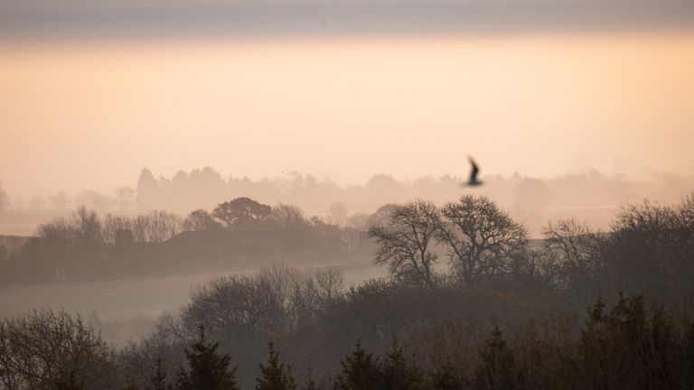 Fog descended over Burton Dassett Hills Country Park in Warwickshire on Tuesday morning