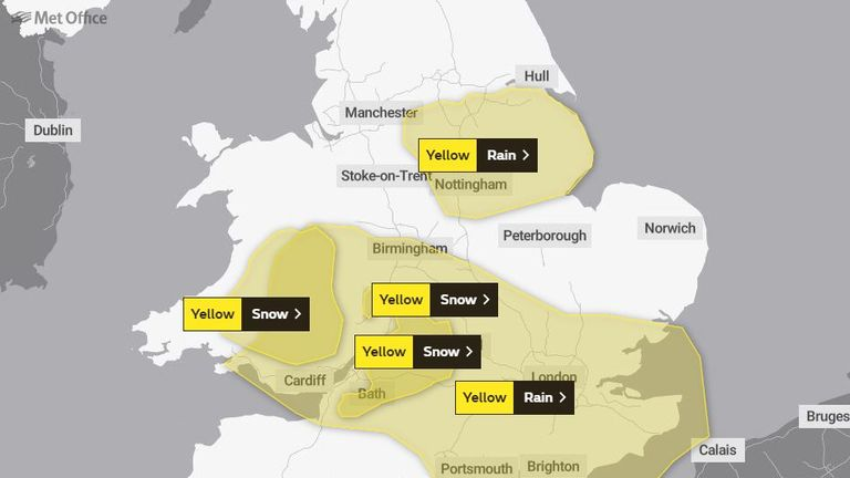 There are rain and snow warnings across much of the south, Midlands and Wales