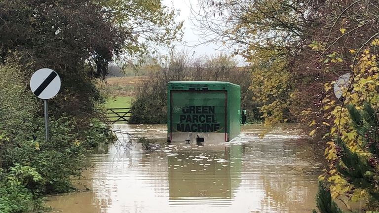 A delivery lorry was stuck in Leicestershire following torrential rain