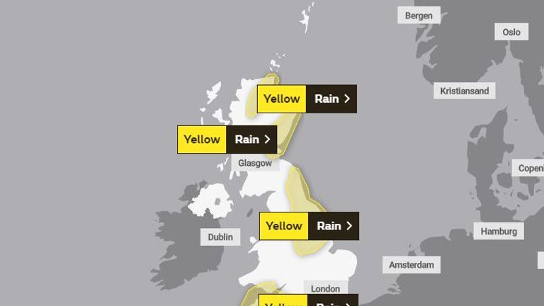 Southwest and northeast England are forecast to have the most rain. Pic: Met Office