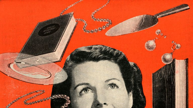 Vintage illustration of a woman dreaming of jewelry and other consumer goods, 1948. Screen print. (Illustration by GraphicaArtis/Getty Images)