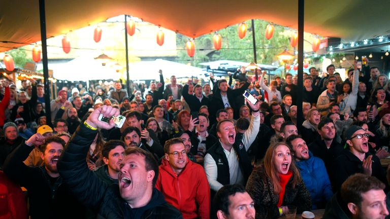 Fans in Flat Iron Square in London cheered on England in Japan