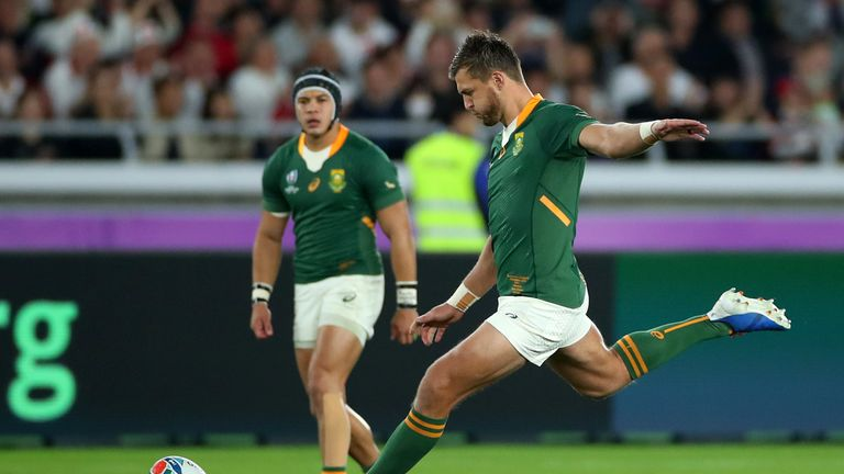 South Africa's Handre Pollard scoring his team's first penalty of the final