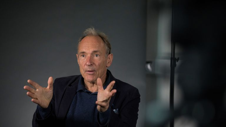 World Wide Web founder Tim Berners-Lee speaks during an interview ahead of a speech at the Mozilla Festival 2018 in London, Britain October 27, 2018. Picture taken October 27, 2018. REUTERS/Simon Dawson