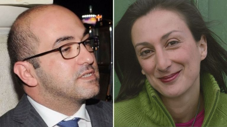 Mr Fenech, left, has reportedly been arrested over the murder of Daphne Caruana Galizia, right