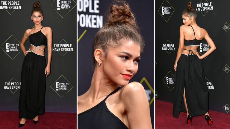 Singer and actress Zendaya wore a black cut-out gown