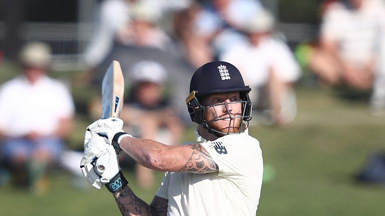 England's Ben Stokes cuts on day one of the first Test against New Zealand