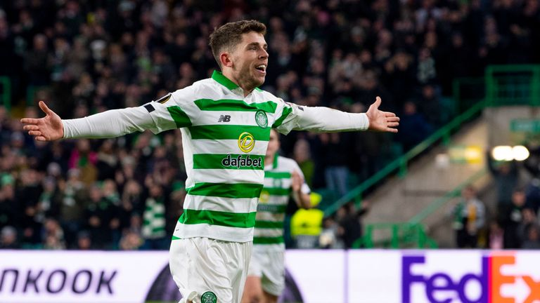 Celtic's Ryan Christie celebrates making it 2-0 during the UEFA Europa League Group E match between Celtic and Stade Rennes at Celtic Park
