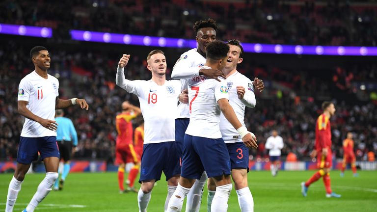 England players celebrate at Wembley