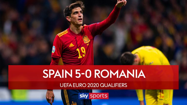 Highlights of Spain's 5-0 win over Romania in Group F of the Euro 2020 Qualifiers