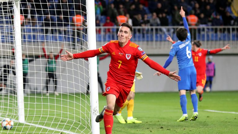 Highlights of Wales' 2-0 win against Azerbaijan in Group E of the Euro 2020 Qualifiers