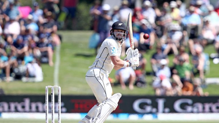 New Zealand's Henry Nicholls bats on day three of the first Test against England
