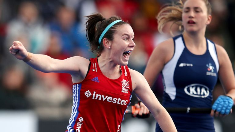 Laura Unsworth of Great Britain celebrates after she scores her side's fourth goal in the Olympic Qualifier match between Great Britain Women and Chile Women
