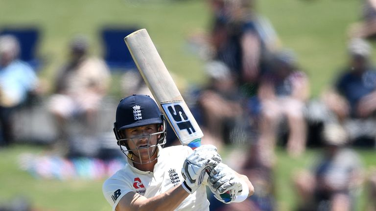 Joe Denly bats on day one of the first Test against New Zealand