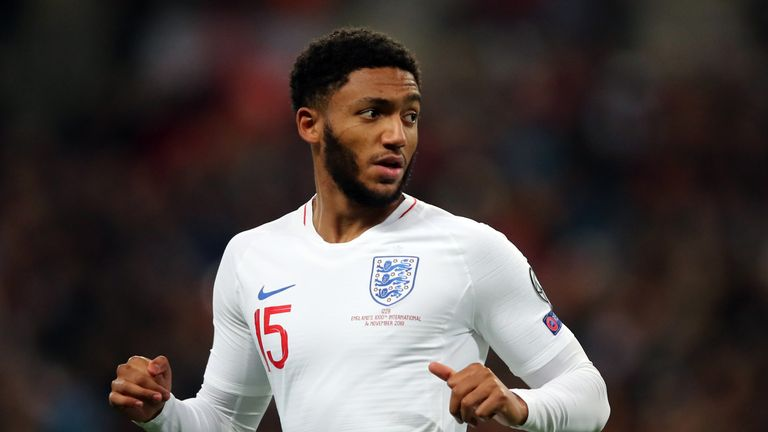 Joe Gomez in action during the UEFA Euro 2020 qualifier between England and Montenegro at Wembley Stadium