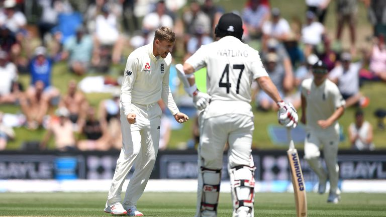 Joe Root celebrates dismissing Henry Nicholls on day three of the first Test