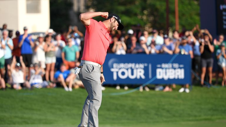Watch the moment Jon Rahm secured DP World Tour Championship victory, earning him $3million and an additional $2m for winning the Race to Dubai.