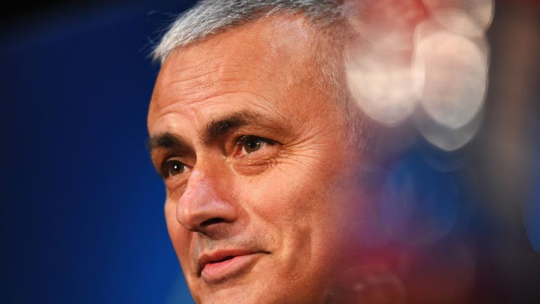 Jose Mourinho talks during a press conference at Old Trafford on November 26, 2018