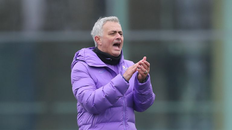 Jose Mourinho during Spurs training on his second day as the club's new head coach