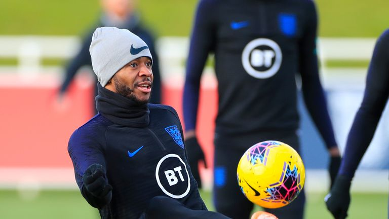 England's Raheem Sterling takes part in training at St George's Park on Wednesday morning