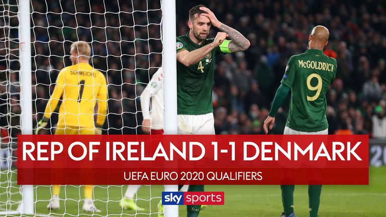 Highlights of Republic of Ireland's 1-1 draw with Denmark in the European Qualifiers which consigns Mick McCarthy's side to the play-offs