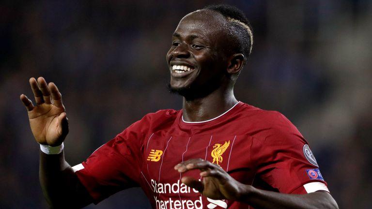 Sadio Mane celebrates scoring for Liverpool in the Champions League