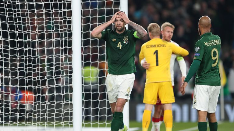 Shane Duffy reacts to a miss against Denmark